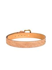 Randier Men Beige Leather Belt