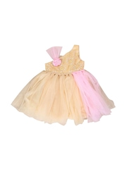 littleopia Girls Pink & Gold-Toned Fit & Flare Dress
