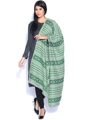 Aurelia Green & Off-White Shawl
