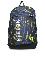 Reebok Unisex Navy & Black Printed Laptop Backpack