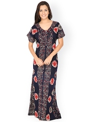 Secret Wish Navy Printed Maxi Nightdress NT-136