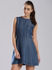 HRX by Hrithik Roshan Blue Denim A-Line Dress