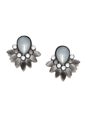 Parfois Gunmetal-Toned & Grey Stone-Studded Stud Earrings