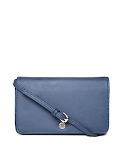Parfois Women Navy Textured Wallet with Sling Strap