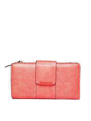 Parfois Women Coral Red Snakeskin Textured Wallet