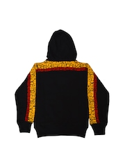VINENZIA Boys Black Hooded Printed Sweatshirt
