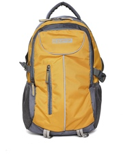 Suntop Unisex Grey & Yellow Checked Laptop Backpack