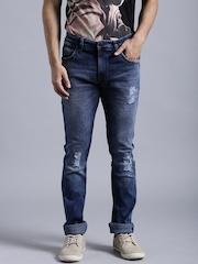 Kook N Keech Marvel Blue Washed Distressed Skinny Jeans