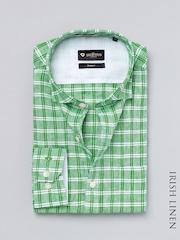 INVICTUS Green & White Checked Slim Linen Formal Shirt