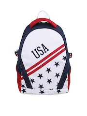 Be For Bag Men Navy & White Printed Water Proof Backpack