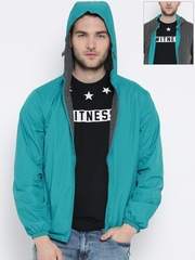 United Colors of Benetton Sea Green & Grey Melange Reversible Hooded Jacket