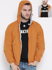 United Colors of Benetton Orange & Grey Melange Reversible Hooded Jacket