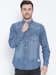 United Colors of Benetton Blue Printed Denim Shirt