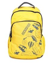 AMERICAN TOURISTER Unisex Yellow & Black Urbane Printed Backpack