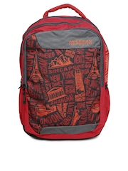 AMERICAN TOURISTER Unisex Red & Black Urbane Printed Backpack