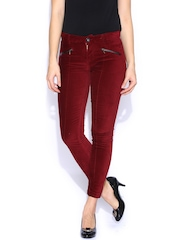 SF JEANS by Pantaloons Maroon Corduroy Trousers