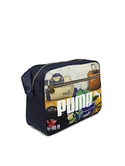 PUMA Unisex Navy Campus Reporter Printed Messenger Bag