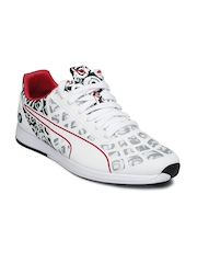 PUMA Unisex White & Navy Printed BMW Casual Shoes