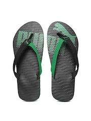 PUMA Unisex Black & Green Miami 6 DP Flip-Flops