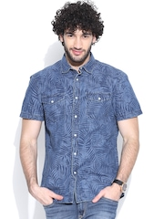 Celio Blue Tropical Print Denim Shirt