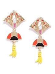 FunkyFish Gold-Toned Enamelled Drop Earrings