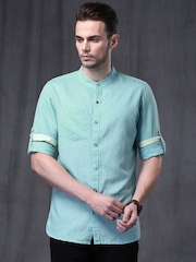 WROGN Turquoise Blue Linen Slim Casual Shirt