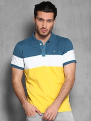WROGN Yellow & Blue Colour Block Polo T-shirt