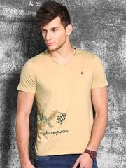WROGN Beige Printed T-shirt