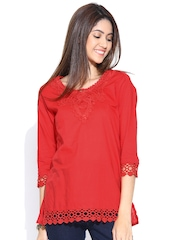 U&F Red Top with Crochet Detail