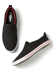 Roadster Men Black Slip-Ons
