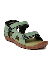 Woodland Men Green Leather Sandals