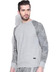 Spunk Grey Melange Sweatshirt with Printed Sleeves