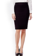 Purple Feather Black Pencil Skirt