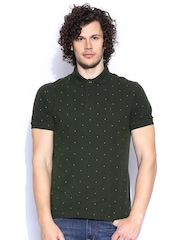 Indian Terrain Olive Green Printed Polo T-shirt
