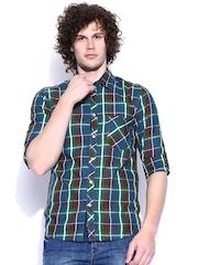 Slub Men Green & Blue Checked Casual Shirt