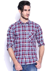 Slub Men Blue & Red Checked Casual Shirt