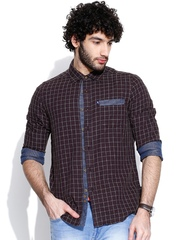 American Swan Burgundy Checked Smart Fit Casual Shirt