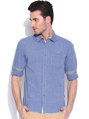 American Swan Blue Smart Fit Casual Shirt
