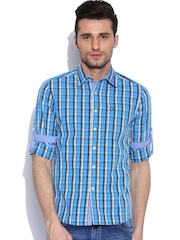 American Swan Blue Checked Casual Shirt