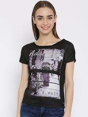 Elle Women Black Printed Semi-Sheer Top