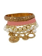 Shining Diva Peach-Coloured & Gold-Toned Bracelet