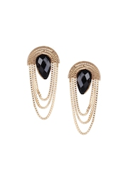 Shining Diva Gold-Toned & Black Drop Earrings