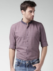 Mast & Harbour Purple & Red Checked Smart Casual Shirt