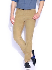 Indian Terrain Khaki Bronx Fit Corduroy Trousers