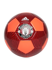 Adidas Red & Neon Orange MUFC Striped Football