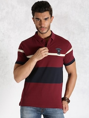 Roadster Maroon Engineered Striper Polo T-shirt