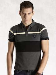Roadster Grey Melange & Black Engineered Striper Polo T-shirt