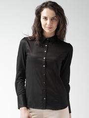 Mast & Harbour Women Black Regular Fit Solid Casual Shirt