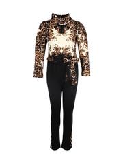 CUTECUMBER Girls Black & Beige Printed Jumpsuit
