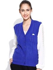 Monte Carlo Blue Merino Wool Sleeveless Cardigan